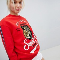 Superdry Leopard Logo Red Sweatshirt at asos.com