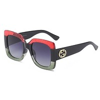 Gucci Women Men Personality Summer Sun Shades Eyeglasses Glasses Sunglasses Red I