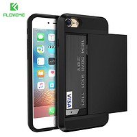 FLOVEME Card Holder iPhone X/ 5S/ 5/ SE/ 4/ 6/ 6S/ Armor Hybrid Case For iPhone X 7 6 6S Plus  Men Phone Accessories