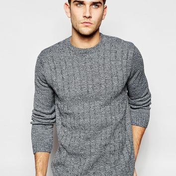 ASOS Cable Knit Jumper in Black Twist