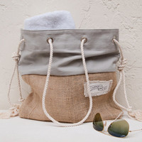 Gray Canvas Tote Large Beach Bag Beach Tote Burlap Grey Canvas Stripe