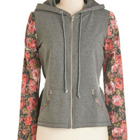 ModCloth 90s Short Length Long Sleeve Hoodie What Daydreams Will Come Hoodie in Grey
