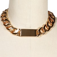 Gold Chain Link ID Necklace