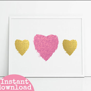 Printable bedroom decor wall art. Gold foil and pink foil effect hearts digital art girly wall hanging. Instant download digital art.