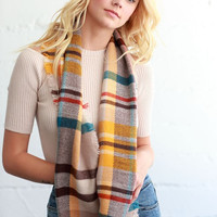 Mustard/Turquoise Plaid Mix Infinity Scarf
