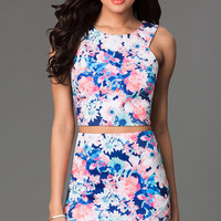 Short Two Piece Floral Print Dress