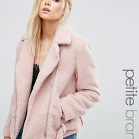 Missguided Petite Exclusive Shearling Biker Jacket at asos.com