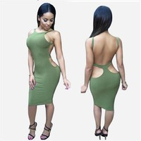 Sleeveless Backless Winter Strapless Bandages Sexy One Piece Dress [6339083265]