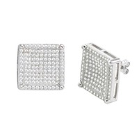 Sterling Silver Mens Stud Earrings Large Square Cubic Zirconia Micropave CZ 15mm