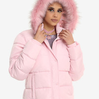 Pink Faux Fur Hood Puffy Girls Jacket