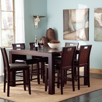 7 pc Prewitt collection espresso finish wood counter height dining table set with padded seats