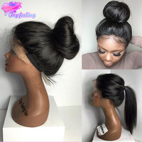 Brazilian Virgin Hair Full Lace Wig With Baby Hair Silky Straight Lace Front Wig