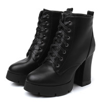 Womens Stylish Urban Platform Heel Boots