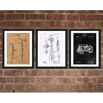 Farming Patent Print Set - Patent Art - Patent Print - Patent Poster - Office Art - Office Supplies