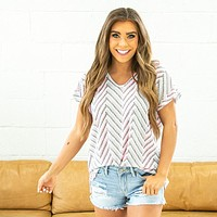 NEW! Iris Neon Pink and Gray Open Weave V Neck Top