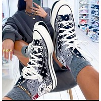 Converse fashion hot sale color matching pattern couple high-top casual shoes sneakers