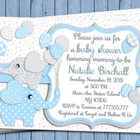 Elephant Baby shower printable invitation baby boy digital invite personalized invitation light blue gray balloons party DIY birthday card