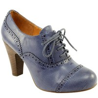 Womens Lace Up Brogue High Heeled Shoe Ankle High Boots
