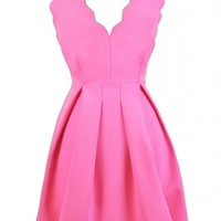 Lily Boutique Hot Pink Party Dress, Cute Pink Dress, Pink A-Line Dress, Scalloped Party dress, Cute Summer Dress, Pink Sundress Lily Boutique