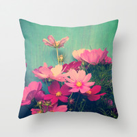 Pink Cosmos Throw Pillow by Olivia Joy StClaire