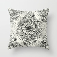 Messy Boho Floral in Charcoal and Cream Throw Pillow by Micklyn