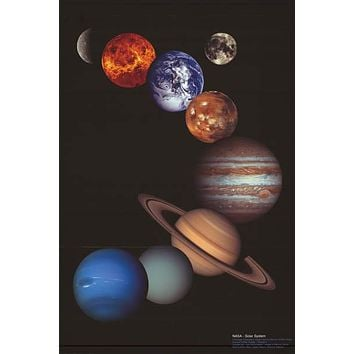 The Eight Planets NASA Solar System Poster 24x36