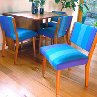 4 x mid-century chairs, striped purple-blue-green