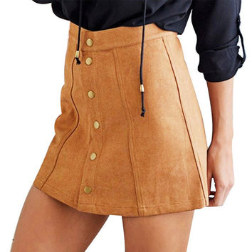 WJ Summer Skirts Sexy Faux Suede Women Skirt A-Line  Button Mini Female Skirts Plus Size