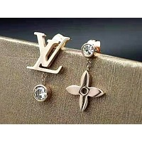 LV 2019 new simple and asymmetrical female models wild earrings two-piece Rose gold