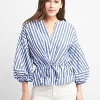 Stripe Balloon Sleeve Top with Cinched Waist | Gap