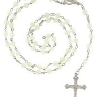 Glow In the Dark Rosary With 8mm Multicolor Beads - 24in. Rosary Necklace Length - 16.5 in. Overall Length