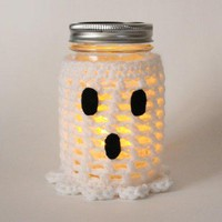 Ghost Mason Jar Candle Flameless Candle Halloween Decor Crochet Fall Jar Decoration