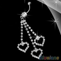 Heart Rhinestone Chain Dangle Barbell Belly Button Ring