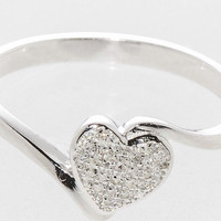 Diamond Heart Ring .10ct Sterling Silver Heart Micropave, Size 7.5