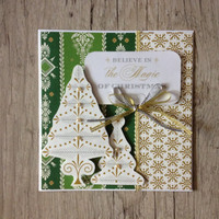 Beautiful Christmas card - new year greeting card handmade scrapbooking - white green gold snowflake christmas tree - europeanstreetteam