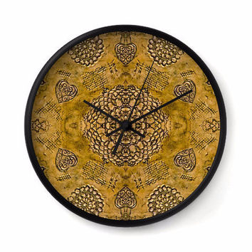 Bohemian Wall Clock with gold floral lace pattern