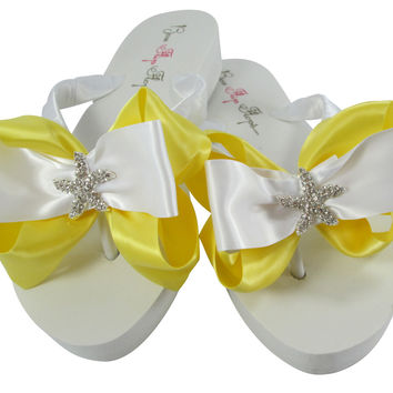 Lemon Yellow Wedge Starfish Flip Flops