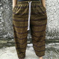 Brown Pants Boho Ethnic Print Yoga Harem Trousers Hippie Festival Fashion Styles Festival Clothing Gypsy Tribal Clothes Beach Summer Gifts