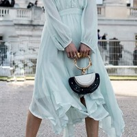 Look Of Love Mint Long Sleeve V Neck Chiffon A Line Midi Dress