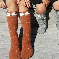 Fox socks, knee high socks, girls socks, kids accessories, boys socks, baby leg warmers