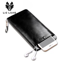Men's Long Wallet Luxury Genuine Leather Vintage Black Wallet Coin Purse Cow Leather Male Zipper Luxury Wallets
