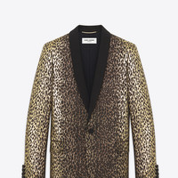 Single-Breasted Jacket in Black and Gold Leopard Woven Lamé