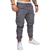 Male Trousers Mens Joggers Solid Multi-pocket Pants Sweatpants
