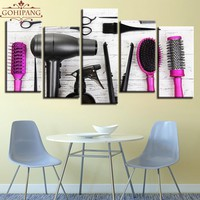 Gohipang 5 Piece Canvas Painting Hairdressing Tools Scissors Comb Barbershop Beauty Salon Room Decor Print Poster Wall Art Frame
