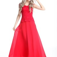 Sweet Women's Red Lace V-neck Chiffon Long Evening Prom Party Homecoming Ball Gown