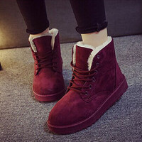 Casual Winter Ladies Flat Lace-Up Warm Snow Ankle Boots