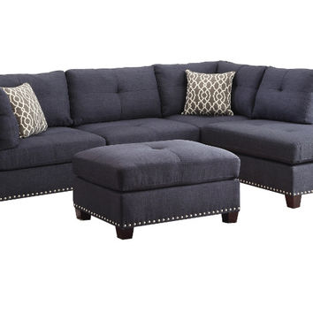 Acme 54360 3 pc Laurissa dark blue linen fabric sectional sofa and ottoman