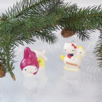 Vintage 1970s Sanrio My Melody Hello Kitty Bone China Christmas Ornaments Japan