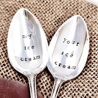 Hand Stamped Vintage Silverplate Ice Cream Spoons by Blithevintage