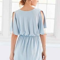 Silence + Noise Split-Sleeve Cupro Knit Mini Dress